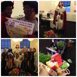 Gisteren kregen we onverwachts bezoek van de Sint en zn pieten. Bedankt @DeBorrelFabriek! #eventmoment http://t.co/B6wSXRcQbX