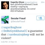 Hilarious Reply by @SecularFraud to @sagarikaghoses invitation on occasion of book signing by Moron @sardesairajdeep http://t.co/haR88XUqMu
