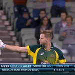 #CmonAussie! Two boundaries from Faulkner to finish the over and Australia need 21 from 18 balls! #AUSvSA http://t.co/R7xRQ9E2F8