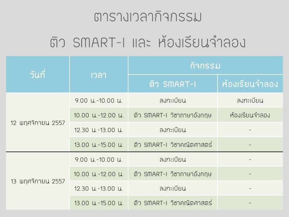 ตารางเวลากิจกรรมติว SMART-I (คณิตศาสตร์ โดย พี่ปั้น SMART Math Pro และภาษาอังกฤษ โดย พี่โอม Forward English) ค่า http://t.co/BWf6koZZ07