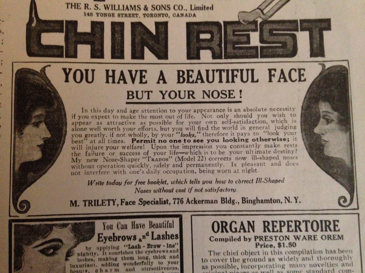 1917 ad: Beauty is in the eye of the OH MY GOD WHAT'S THAT THING ON THE MIDDLE OF YOUR FACE?! http://t.co/mMtLp6vnfA