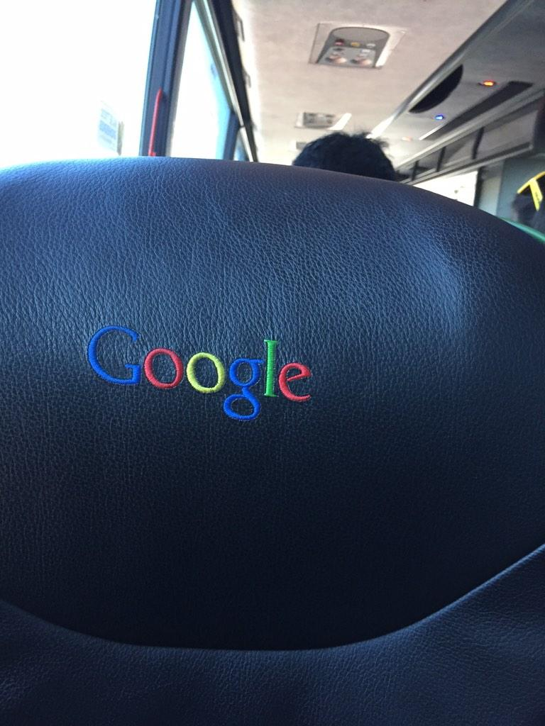 On the Google bus, there are 3 buttons.  Turn up the music, stop the bus, and female. http://t.co/IkV5szM6by