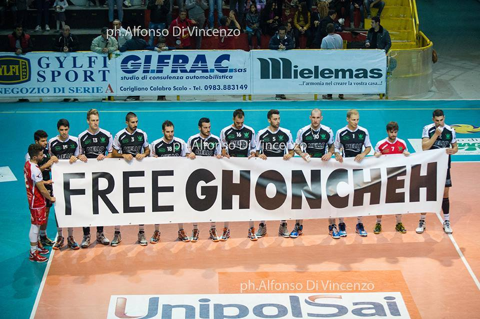 Support for Ghoncheh Ghavami at Italy volleyball championship #Iran https://t.co/NoUqW2uLuK  #FreeGhoncheh http://t.co/i6qr3ea7eM