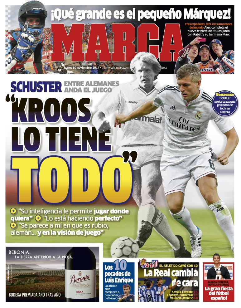 """#LaPortada '""""Kroos lo tiene todo"""" http://t.co/UNDtc0eNCa"""