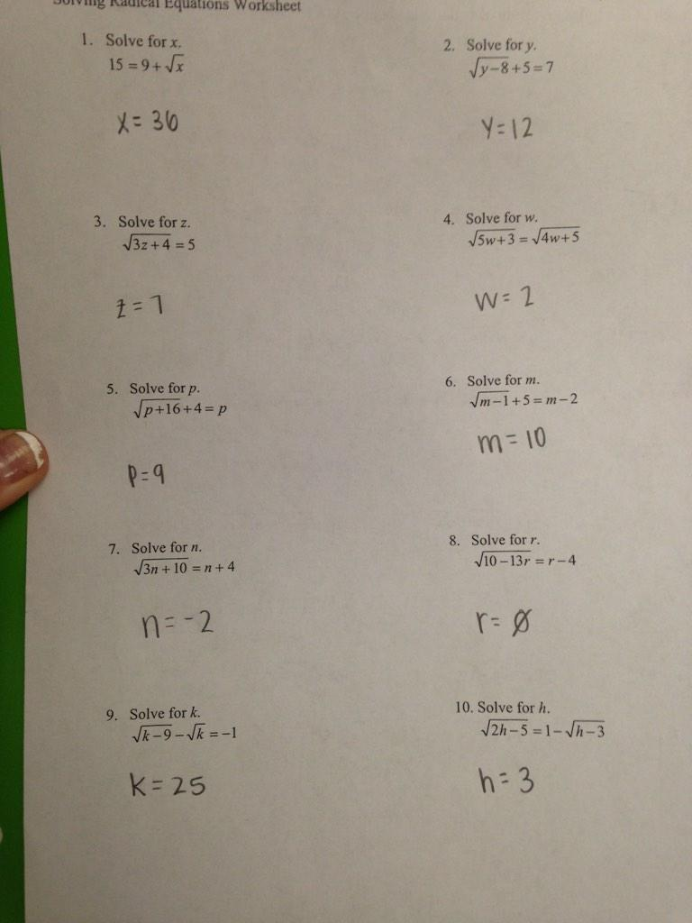 Equations worksheet answer key