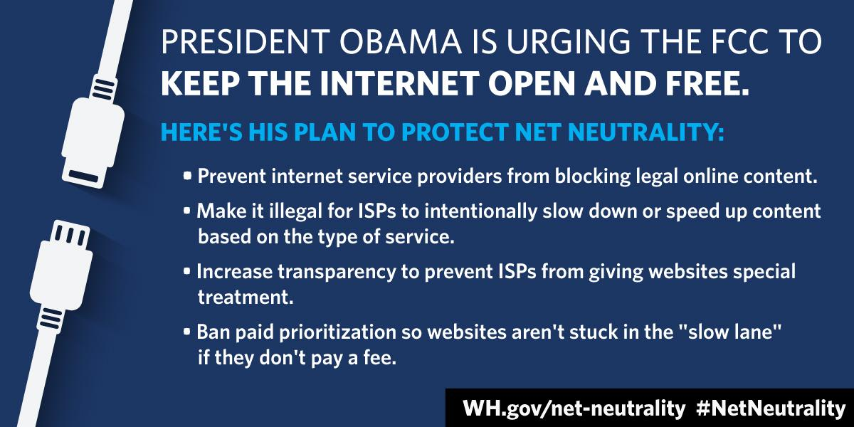 Kudos to @WhiteHouse for continued support of #NetNeutrality.  Constituents overwhelmingly say NO #InternetFastlanes http://t.co/6wokIYqzqk