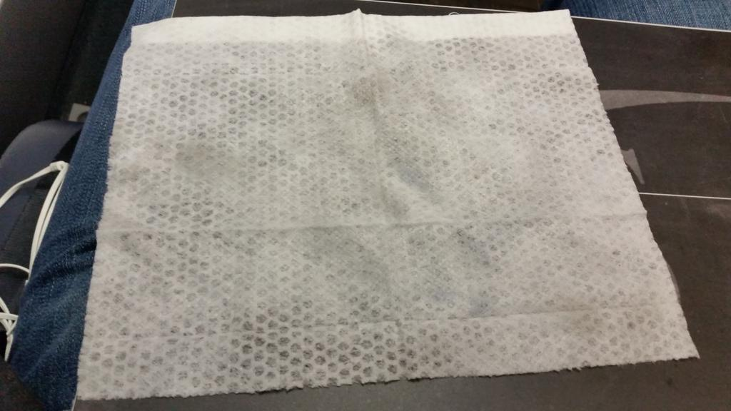 .@USAirways My @Clorox #disinfectant wipe after I wiped down my 1st class seat. Seriously? #PreventDisease #Gross http://t.co/DpJWEFCYo5