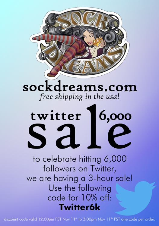 We're celebrating hitting 6k followers today by holding a 3-hour twitter only flash sale! See image for code. :D http://t.co/cLcDp3DH1I