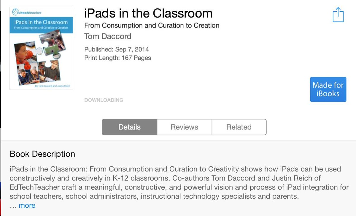 iPads in the Classroom: From Consumption and Curation to Creation in iBookstore https://t.co/aG0AwEzFx2 #ettipad http://t.co/y89eVSMjpj
