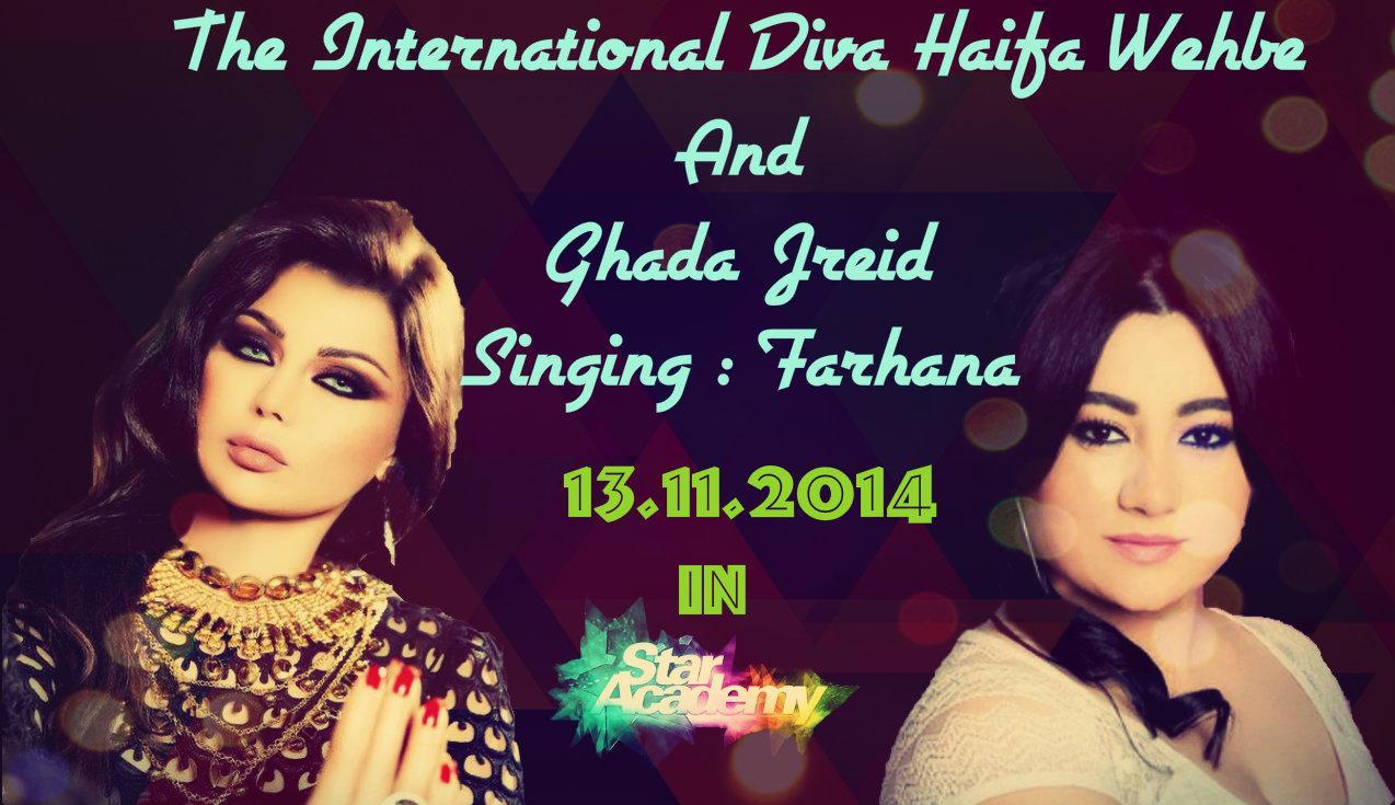 """@hindHW1: Diva Haifa Tommorow In #StaracArabia singing #farhana with #GhadaJreidi #HaifaInStarac 🎤🎤🎧🎶🎶😍😍❤💕 http://t.co/4qnTbWzdWm"""