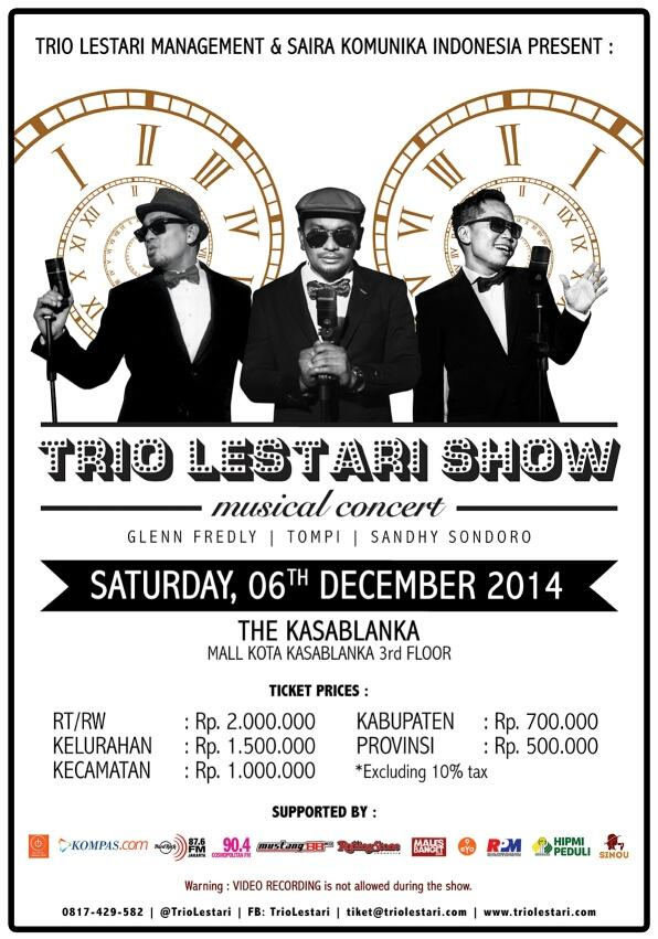 Trio Lestari Show! @GlennFredly @dr_tompi @SondoroMusic 6 Dec @Kota Kasablanka. Tickets are available at Sinou :) http://t.co/Mc6h7w9mgD