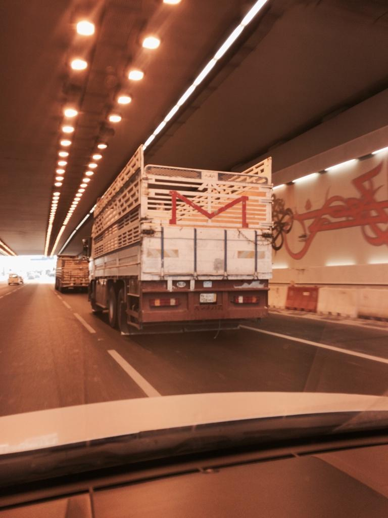 A big delivery of Gmail heading down Salwa Road.  Always wondered how email worked. http://t.co/SqHYmf3YYd