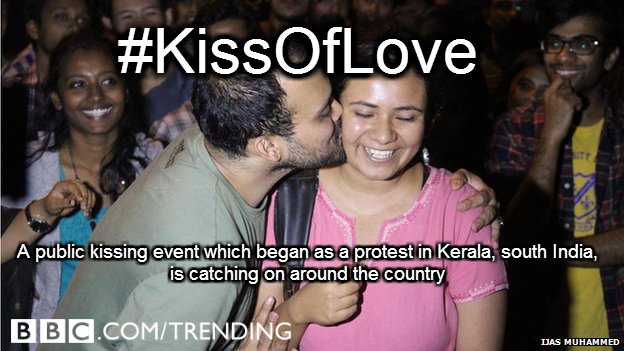 RT @BBCtrending: Is public kissing morally acceptable in India? http://t.co/r6lahaW9Y7 How the #KissOfLove spread across the country http:/?