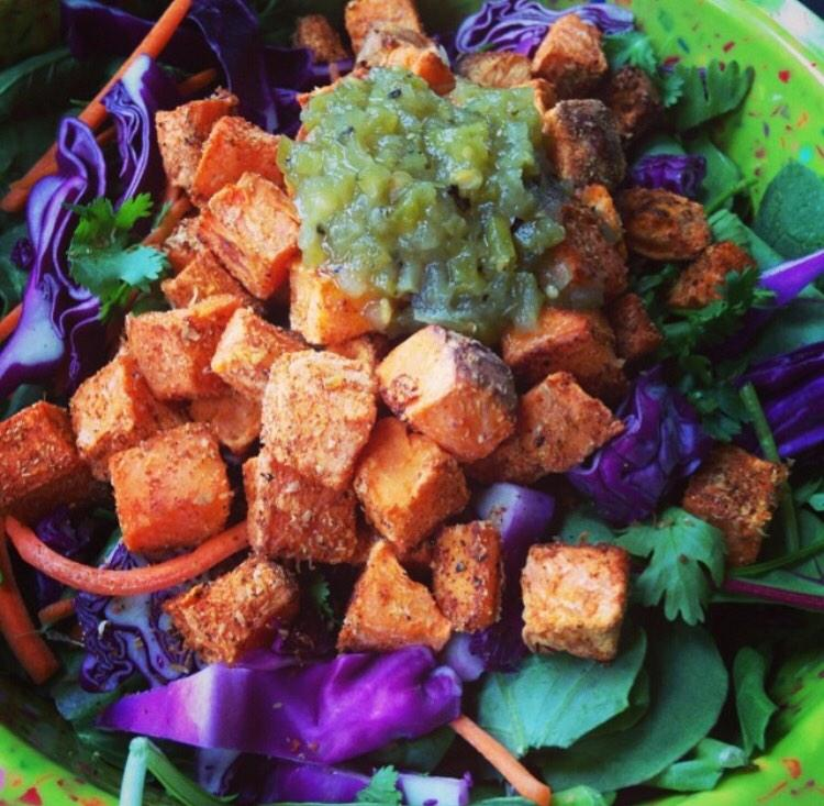 Roasted sweet potato croutons - sprinkle with no-salt seasoning & dust with flax meal then bake! #vegan #plantstrong http://t.co/o62RkK0oHa