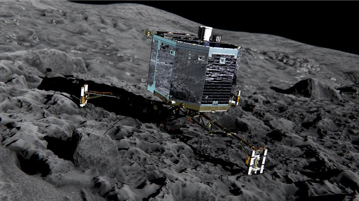History has just been made. @Philae2014 has successfully touched down on a comet! #CometLanding http://t.co/CpvawTbolI