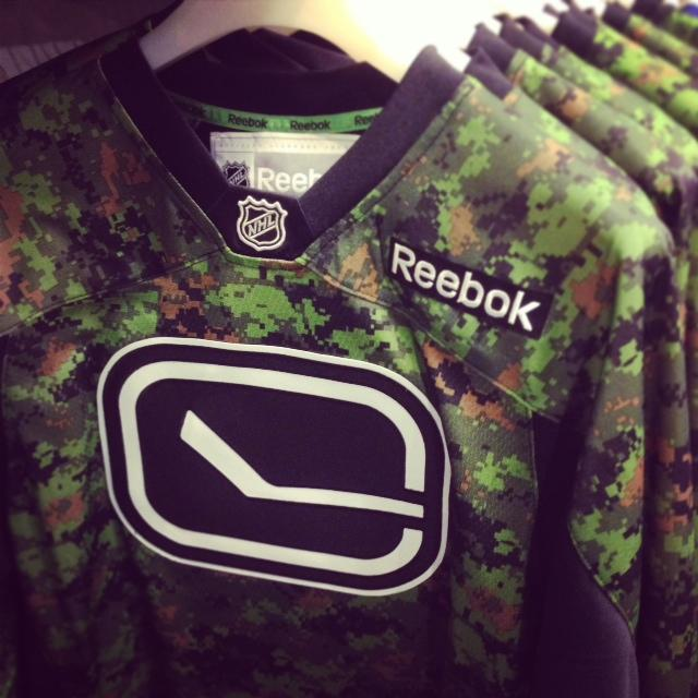 Canucks Team Store (@CanucksStore): FYI: A limited number of #Canucks camo jerseys will be available at our Rogers Arena Team Store this Friday. http://t.co/pBNvtyNhs7
