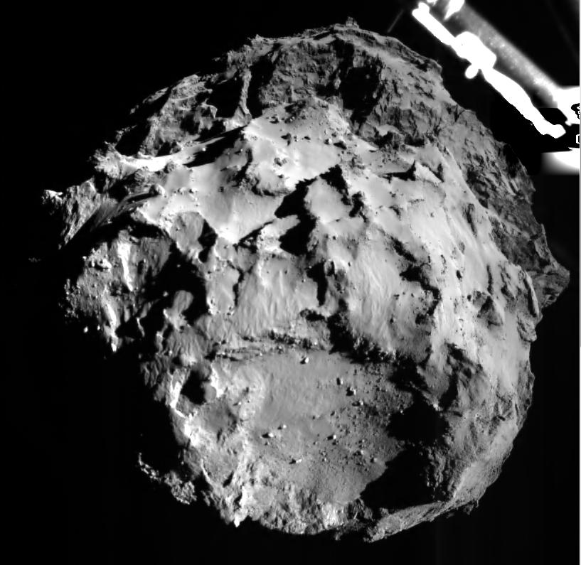 Imagen del Cometa 67P/C-G tomada por el Philae lander justo antes del aterrizaje. http://t.co/avbVMhOTYf