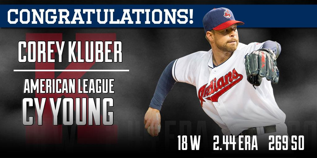 Corey Kluber is your 2014 American League #CyYoung winner!  RT to congratulate #CyKluber! http://t.co/hYW7Up2fOQ