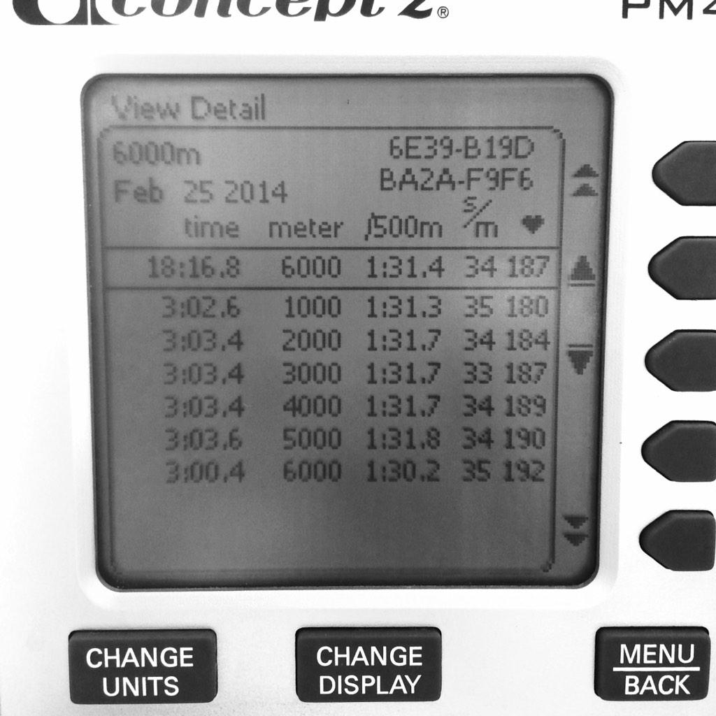 First attempt @ a 6000m erg! @concept2 http://t.co/yqwcEohv9H