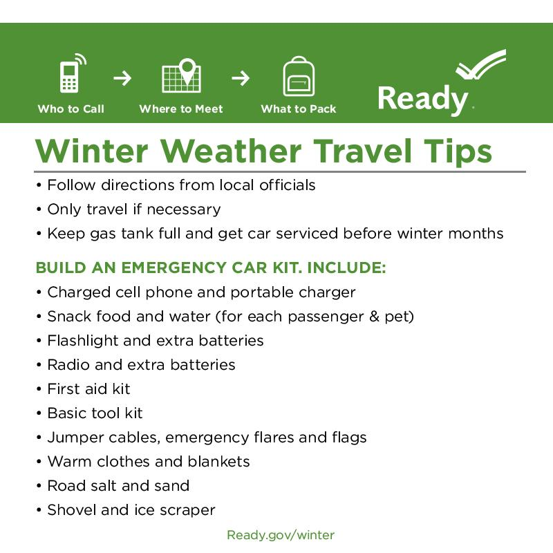 Get ahead of #Winter storms by making sure your emergency kit for your car is fully stocked. http://t.co/sZ3MCVttnA