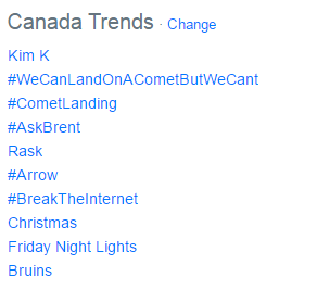 #WeCanLandOnACometButWeCant stop the power of a naked Kim K from trending #1.... http://t.co/EEfDvlWOnI