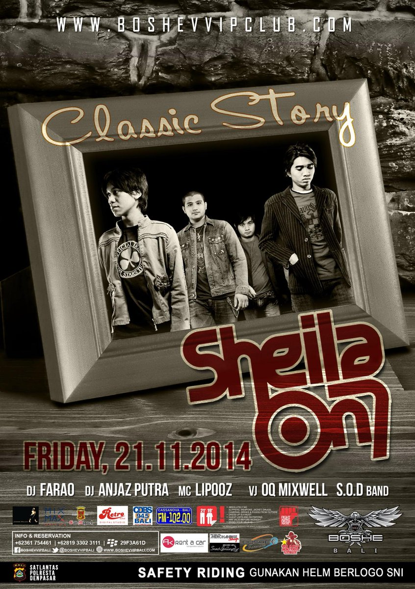 Friday 21st NOVEMBER #ClassicStory @sheilaon7 Exclusive Live - FDC 100K - RSV Contact @AGUNG_AGAA 081916766650 http://t.co/N4OPwMKitZ