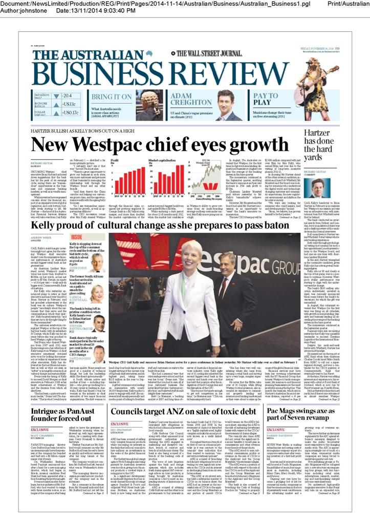 Front page The Australian Business Review Friday November 14, 2014. @australian http://t.co/MvVpT9S1kt