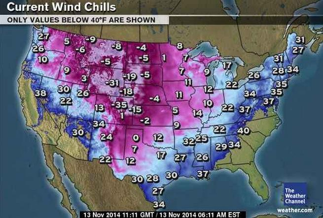 Wind Chill Map From Just After 4 A M Mst No Its Not January In