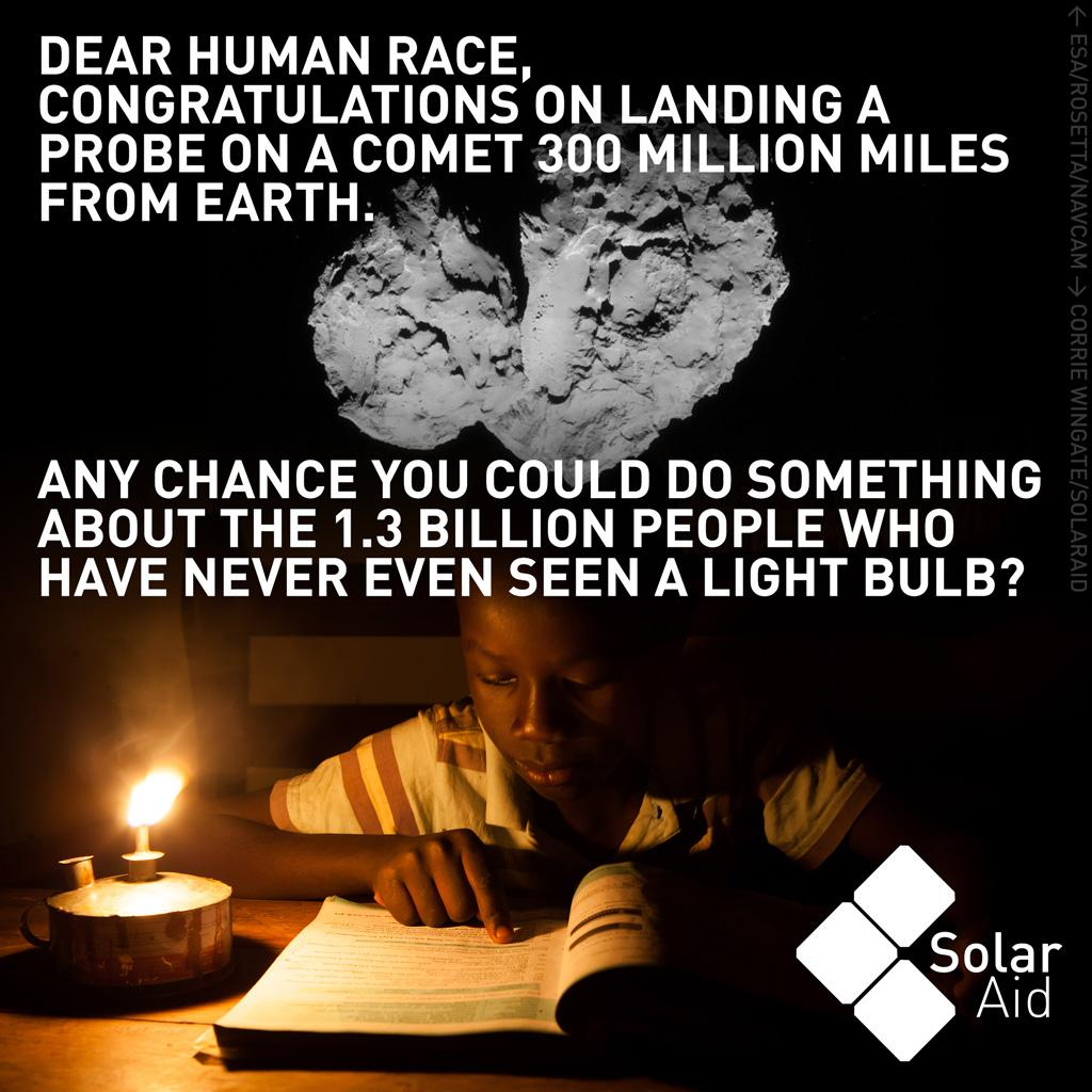 Technology is amazing isn't it. For those that can access it.#WeCanLandOnACometButWeCant #CometLanding http://t.co/fVx4pHsBvz