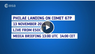 Missed today's media briefing at ESOC? Replay available here https://t.co/eEZJuwcIjV #CometLanding http://t.co/e6uMtp3yM2