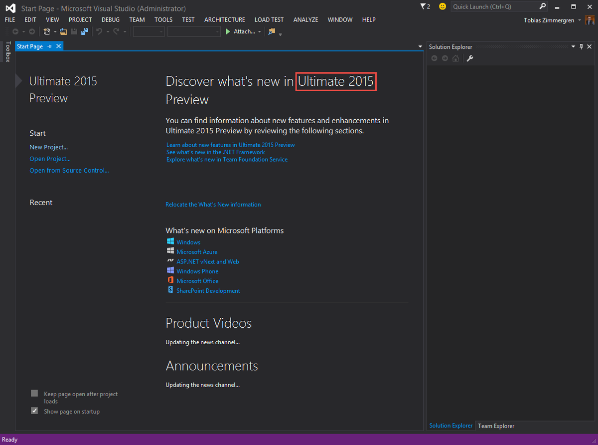 Time to try out the Preview of #VS2015 - let the trials begin! #vsconnect http://t.co/d35EN69l2B