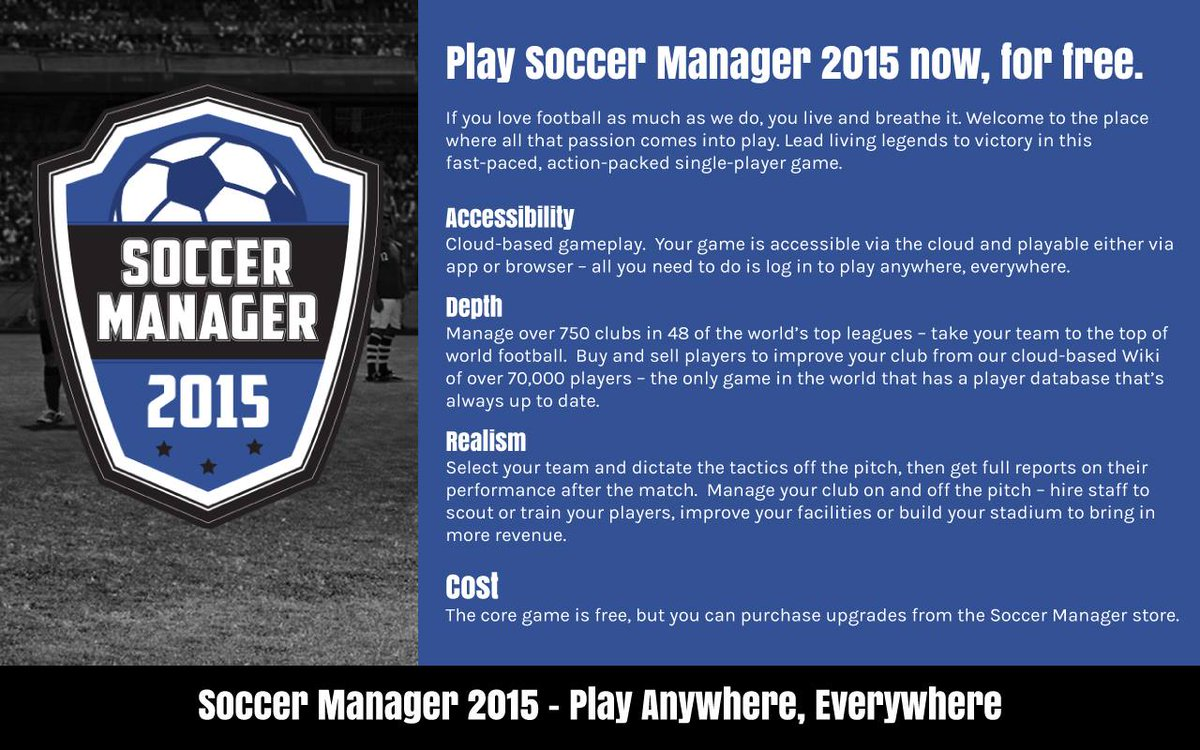 Soccer Manager 2015 has now launched. Play for free @ http://t.co/JE4bMhLRgz. Retweet for a chance to win 25k Credits http://t.co/W1Y3Z098kM