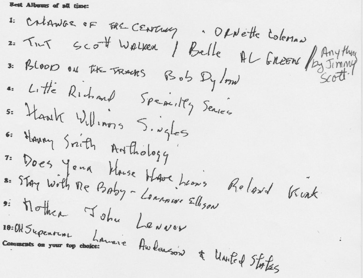 In 1999 Lou was asked by a magazine to submit his top 10 records of the century. Here is the list he sent them: http://t.co/0CHomo34M2