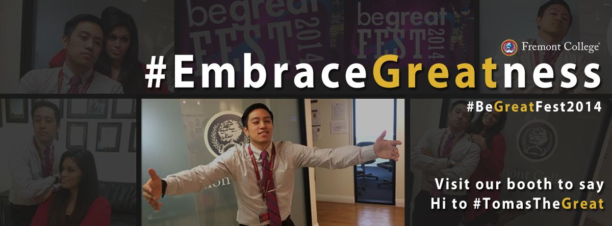 Visit our booth, meet #TomasTheGreat #EmbraceGreatness #BeGreatFest and to get your #GreatnessToteBag @FremontCollege http://t.co/LCjdZ47NxG
