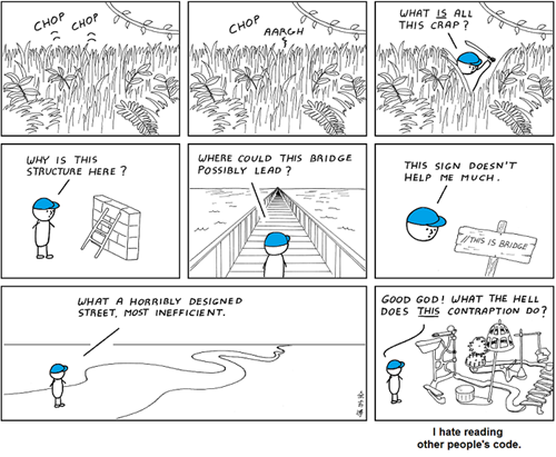 What it's like reading someone else's source code (credit: http://t.co/lnnZE5D7Na) http://t.co/ed71YnCqUk