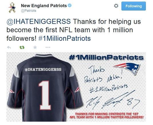 Patriots' Twitter account sends out horrible tweet thanking one millionth follower http://t.co/w5HruNsMzI http://t.co/kEwS0UxPDM