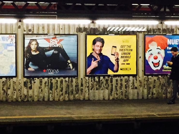Look who is gracing the NYC Subway - @iamsrk http://t.co/EqYm0xtEID