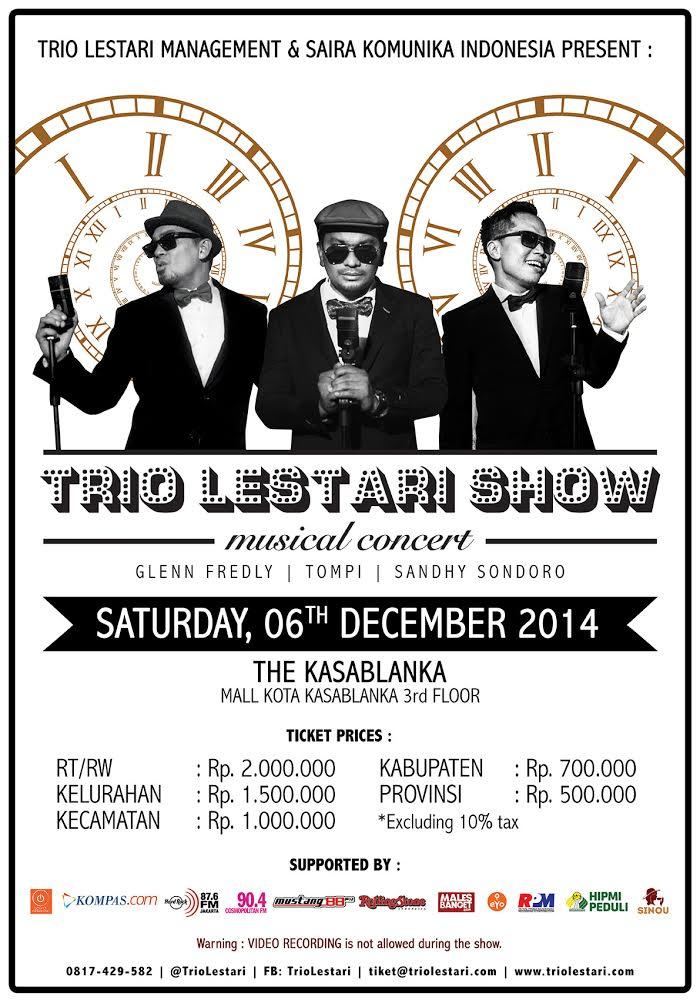 Trio Lestari Show! @GlennFredly @dr_tompi @SondoroMusic 6 Dec @kota Kasablanka. Tickets are available at Sinou :) http://t.co/YmDgNY1sgF
