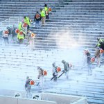 Snow removal continues in the stands at Spartan Stadium Friday afternoon. #MSURU http://t.co/FfgATh86q2