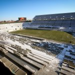 It marks the first time in more 20+ years that snow had to removed from Spartan Stadium prior to a home game. #MSURU http://t.co/f2QPiIY2o2