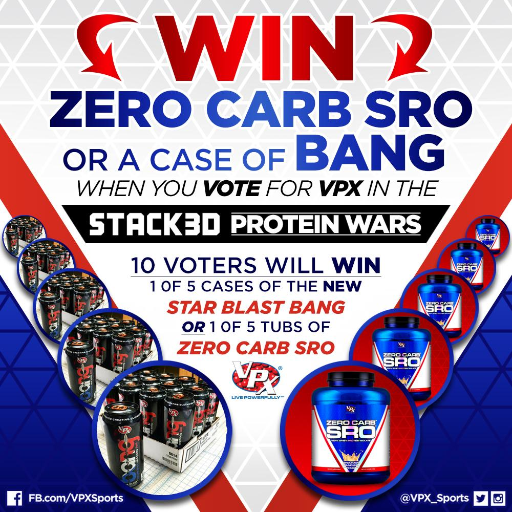 WIN #ZeroCarbSRO or a case of NEW #StarBlast #BANG when you VOTE for VPX http://t.co/nn5A4BCxHS  (See image for info) http://t.co/hHn5MzIZN4