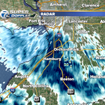 """3:50pm Band of snow south of #Buffalo drifting northward toward #Buffalo. Expect 1-4"""" in band late this afternoon. http://t.co/3sktbdY9LB"""