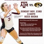 We take on Missouri this Sunday @ 3pm.   Stick around after the match as we honor Senior, Sydney Wilhelm! #12thMan http://t.co/Q1ocWaA7T1