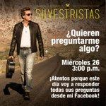 #Silvestristas este miércoles @SilvestreFDC responderá todas sus prenguntas ¡Aprovecha! --> https://t.co/rEbxKqYwtx http://t.co/kbSB6EeO0K