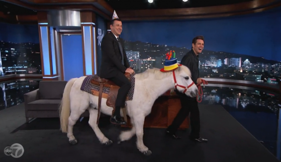 Jim Carrey Horses Around on 'Jimmy Kimmel Live!'
