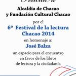 En homenaje a José Balza >>> 6to Festival de la lectura Chacao 2014 @LibroELNacional @culturachacao http://t.co/q1qtx6V5Fn