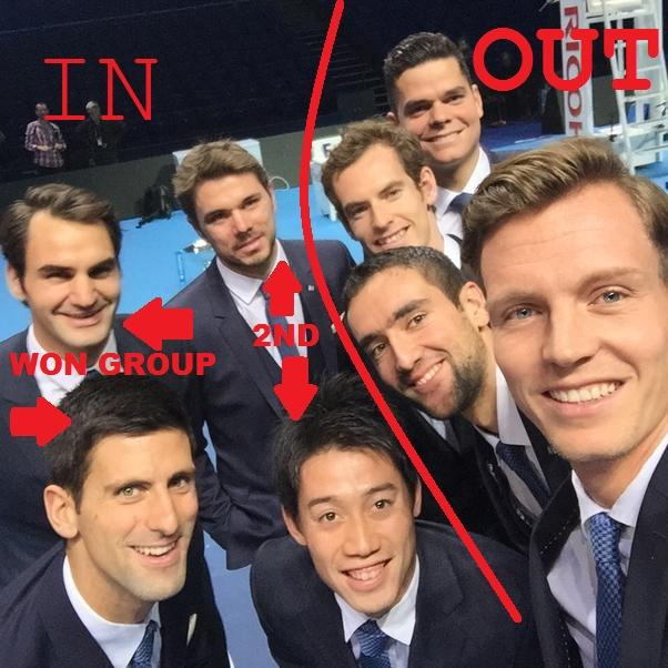 Wawrinka is into the semis, so here's Berdych's famous selfie updated to reflect London #WTFs round robin results. http://t.co/I5bfesyDfK