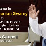 RT @sujanrao: A warm welcome to Dr. Subramanian Swamy (@Swamy39) who will be delivering a speech today in Mangalore. http://t.co/OXI1rbnBCf