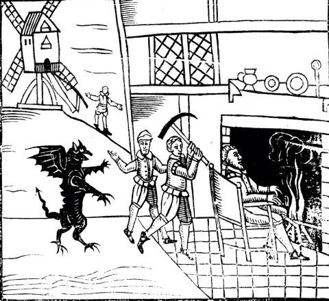 Woodcut: It was the servants. With a pickaxe. Near a windmill. http://t.co/uU0F6M0534