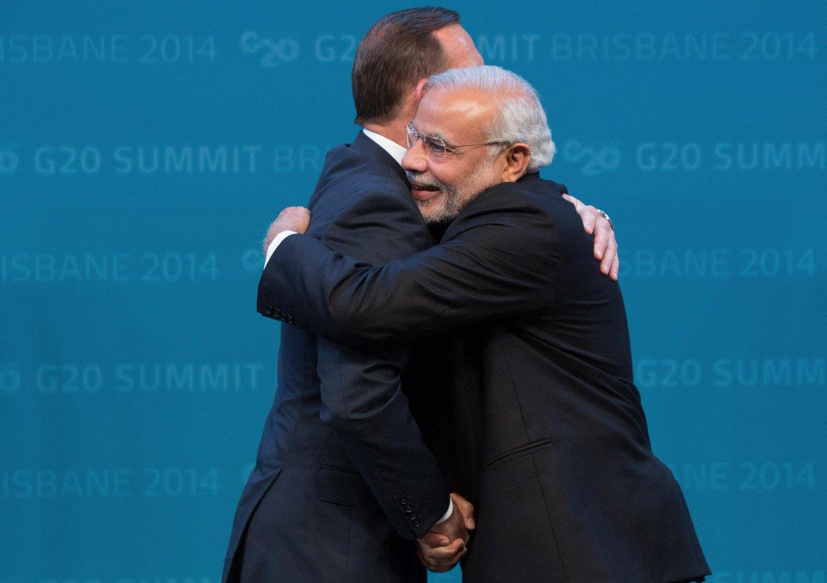 A warm greeting with @narendramodi #G20Brisbane #G20 http://t.co/2jTmUzFvJ4